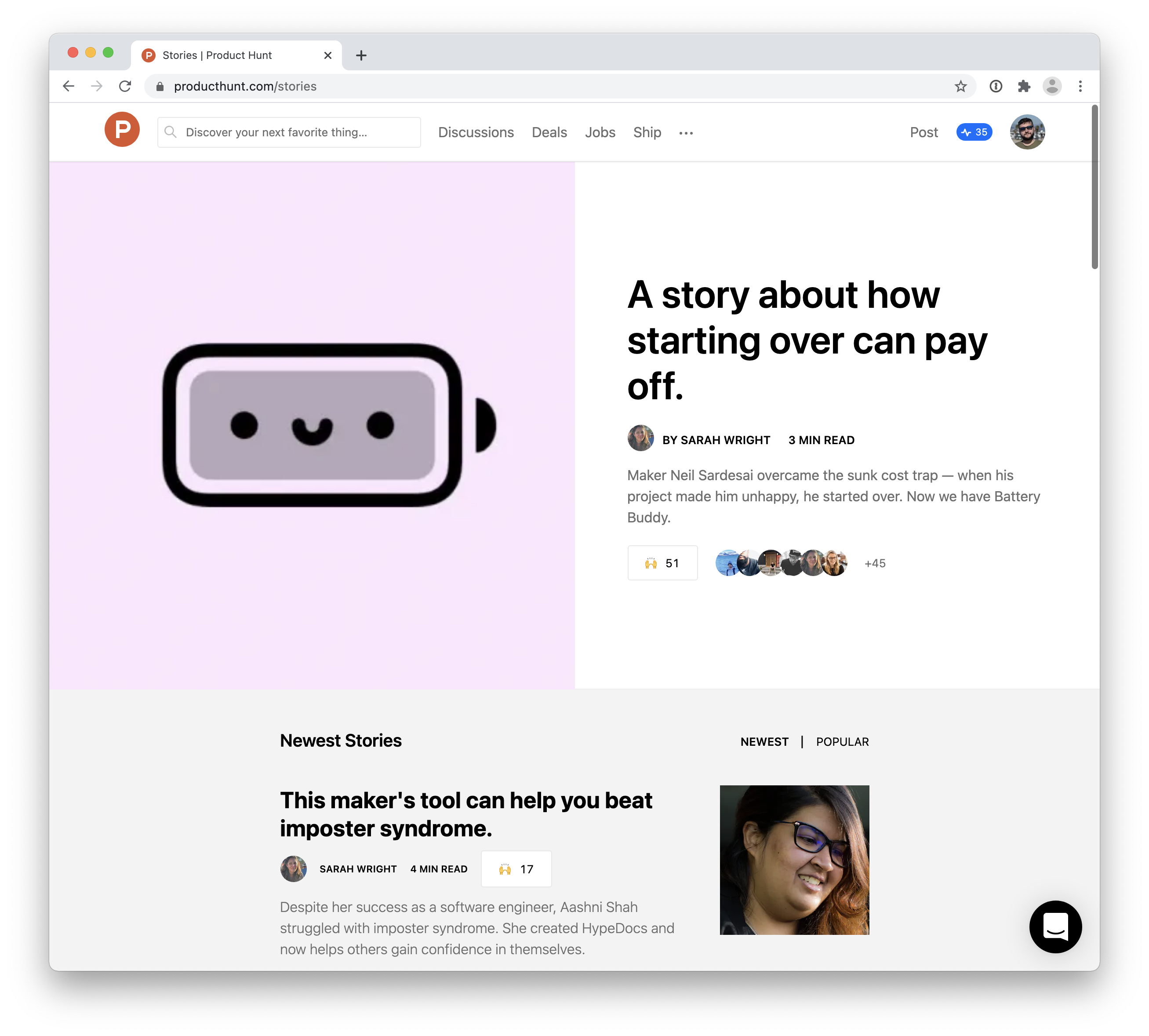 Product Hunt Stories
